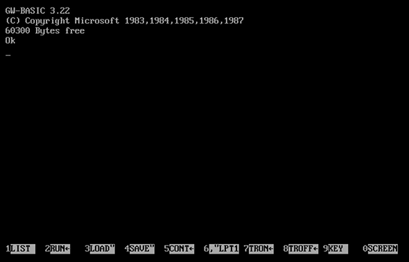 The opening screen of GW-BASIC