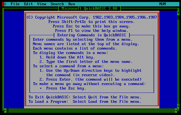 The opening screen of Quick BASIC 3