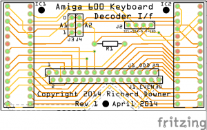 My custom PCB design for the Amiga 600 keyboard interface